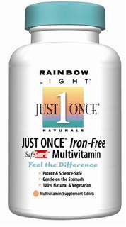 Just Once Iron-Free SafeGuard Multivitamin Completely vegetarian nutrition compatible with certain prescription medications.