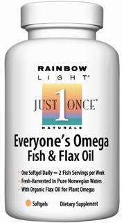 Everyone's Omega Fish & Flax Oil  Just one softgel per day equals 2 servings of fish per week! Omegas from fish & flax plus vitamin D..