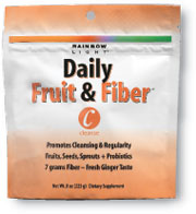Daily Fruit & Fiber  Light fruity flavor! Promotes cleansing and regularity with fiber from fruits, seeds and sprouts, plus enzymes and probiotics.