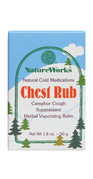 Chest Rub temporarily relieves cough due to minor throat and bronchial irritation occurring with the common cold. It helps to control the impulse to cough so you can rest. A fresh herbal vaporizing balm, Chest Rub contains Camphor in a base of essential oils: Eucalyptis, Pine Needle, Peppermint, Lemon, Cypress, Lavender, Sage and Thyme..