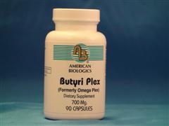 Butyric acid is a short chain fatty acid that helps heal the gut mucosa of the large intestine and is necessary for the proper balance of flora..