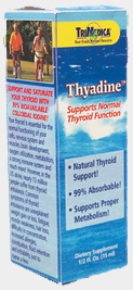 TriMedicas Thyadine provides you with: Colloidal Iodine  from sea kelp. 99% absorbable for maximum benefits! Fucus Vesiculosis  (homeopathic) for obesity, poor digestion, constipation and dietary iodine deficiency. Spongia Tosta  (homeopathic) improves thyroid function and relieves fatigue. Thyroid  (homeopathic) improves thyroid function, relieves cold hands and feet, improves weight loss and fatigue..