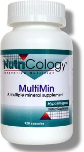 NutriCology's classic mixed mineral formulation, emphasizing hypoallergenic sources as developed by Stephen A. Levine, Ph.D., MultiMin includes minerals known to be important for metabolism, and at levels that are physiologically significant..