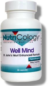 Well Mind was formulated by Daniel Beilin, OMD. It provides St. John's wort extract standardized to 0.3% hypericin, extracts of kava, valerian, passionflower, schisandra and large yellow ladys slipper, powdered gotu kola, and zinc. Well Mind is formulated for the support of mental processes and functioning..
