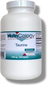 Taurine is a semi-essential amino acid that plays a specialized role as an ion and pH buffer in the heart, skeletal muscles and central nervous system..