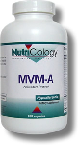 Multiple vitamin and mineral formula with additional nutrients featuring acetyl-L-carnitine for antioxidant support.* Developed by Martin Pall, Ph.D. and NutriCology. MVM-A is part of an antioxidant supplementation protocol..
