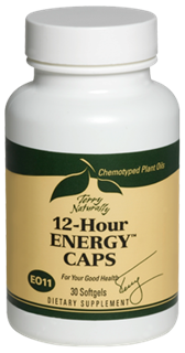 The chemotyped plant oils in 12-Hour Energy Caps provide safe, non-stimulating, sustained energy.  .
