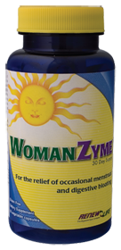 Digestive enzymes & herbs used to relieve gas, bloat & other discomforts associated with PMS..