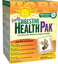 Based on Brenda Watsons H.O.P.E. Formula, now you can enjoy the benefits of daily digestive health in a single all-in-one packet containing 4 essential natural supplements:High Fiber + Omega-3 Oils + Probiotics + Digestive Enzymes = H.O.P.E..
