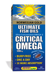 Norwegian Gold Critical Omega is an ultra-concentrated Omega-3 fish oil supplement with more than 85% total Omega concentration..