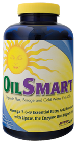 The Essential Fatty Acids in OilSMART Omega Oil Supplements come from flax, borage & fish oils. OilSMART also contains lipase, a beneficial fat-digesting enzyme..
