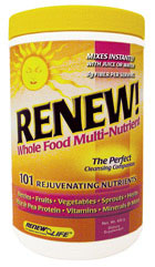 RENEW! Whole Food Multi-Nutrient includes 6 different berries (nature's nutrient and antioxidant powerhouses). It also has a comprehensive vitamin and mineral supplement with an added whole-food proprietary food complex, amino acid complex, antioxidant complex, herbal complex, and berry-fruit-vegetable complex..