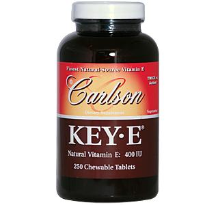 Key-E Tablets are Carlson's exclusive formulation containing the naturally dry d-alpha tocopheryl acid succinate form of vitamin E derived from soybean oil..