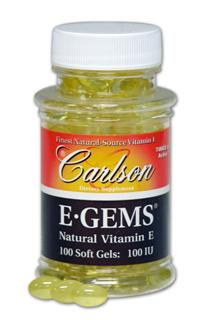 E-GEMS are Carlson's golden gelatin gems containing concentrated natural-source vitamin E oil, d-alpha tocopheryl acetate. .
