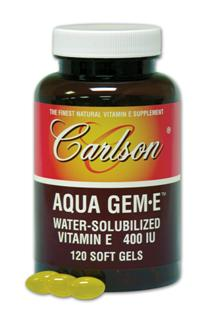 AQUA GEME is Carlson Natural-Source Vitamin E (d-alpha tocopherol) which is solubilized to disperse in water to