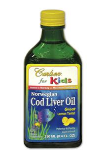 Carlson for Kids Norwegian Cod Liver Oil has a great lemon taste and is naturally rich in DHA and EPA, omega-3's important for healthy brain development and vision in growing children..
