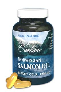 Each Carlson Norwegian Salmon oil soft gel contains 1 gram(1000 mg) of fish oil extracted from salmon and other fish found in the deep, unpolluted waters near Norway..
