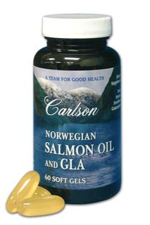 Carlson Salmon Oil is extracted from salmon found in the deep, unpolluted waters of Norway and is naturally rich in the important Omega-3's EPA and DHA. The GLA contained in this product is derived from black currant seed oil and is an important Omega-6 component. The EPA and DHA in Salmon Oil plus the GLA work as a team to promote a healthy balance of prostaglandin types in the human body..