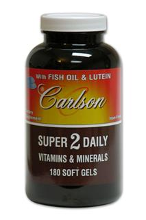 Super 2 Daily Multi-Vitamins contains fish oils and lutein. Iron free formula..