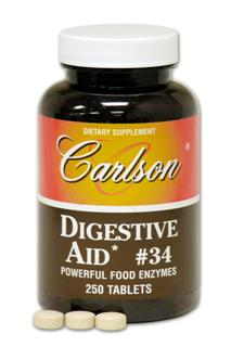 Carlson Digestive Aid #34 is a powerful digestive enzyme formula to supplement body secretions and promote the utilization of food..