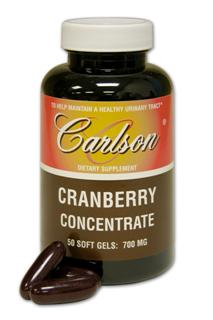 Carlson Cranberry Concentrate is cold-pressed from fresh, ripe cranberries; concentrated by the removal of water; then encapsulated to preserve the freshness of the juice concentrate..