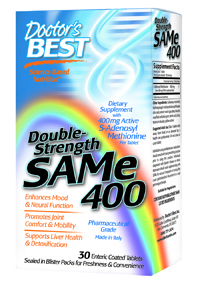 Double Strength SAM-e 400 contains only the highest quality Italian SAM-e available on the market.  This ensures the most potent SAM-e product with the highest percentage of the active S,S form per serving. S-Adenosyl Methionine (SAM-e) is derived from the amino acid methionine and is one of the most important methyl donors in the central nervous system.  .