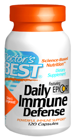 Daily Immune Defense featuring Epicor contains three novel factors that powerfully support immune health and wellness.*  Saccharomyces cerevisiae, Emed-OLE (premium olive leaf extract) and Immunolin, plus vitamins D3, Zinc & Copper provide additional support of the immune system..