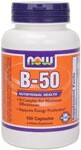 One of our most popular B-complex formulas, NOW B-50 Capsules offer a well-balanced blend of key B vitamins in combination with other nutritional factors for enhanced synergism.  Designed specifically to provide the body with the potencies essential for sound health, each capsule delivers a comprehensive supply of the B family in one easy to take formula.*.