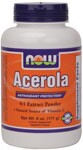 NOW Acerola Powder is derived from acerola cherries, one of nature's highest sources of vitamin C. The fruit can yield up to 4,000 mg of vitamin C per 100 grams of fresh weight, but on the average yields around 1,500 mg. .