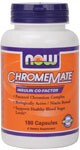 Insulin Co-Factor  Patented Chromium Complex  Biologically Active/Nicain Bound  Supports Healthy Glucose Metabolism* NOW ChromeMate contains a unique patented niacin-bound chromium complex. Chromium is an essential trace mineral that works with insulin to support healthy blood glucose levels already within the normal range and plays an important role in the proper utilization of protein, fat and carbohydrates. Independent studies show that ChromeMate provides greater biological activity than other chromium supplements tested.*.