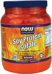 NOW Soy Protein is a good vegetable source of high quality complete protein that is very low in fat and carbohydrates and contains an excellent amino acid profile.  Soy products, including Soy Protein, are high in phytoestrogens, which may positively support healthy natural estrogen levels in women.  Soy Protein also provides beneficial proteins such as Genistein and Daidzein, which have been shown to support good health through various biochemical processes.  Diets low in saturated fat and cholesterol that include 25 grams of soy protein a day may reduce the risk of heart disease.  One serving of NOW Soy Protein Isolate Powder provides 20 grams of soy protein.   This product contains an average of 42 mg of Isoflavones per serving which have been shown to aid in maintaining good health.*    Read FAQ's    Read more about Sports Nutrition from Your Health Professor   Related Products .