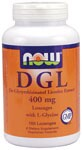 De-Glycyrrhizinated Licorice (DGL) Extract from NOW® is a tasty chewable lozenge that delivers 400 mg of Licorice per lozenge. Licorice has a long history of use and is one of the most widely known medicinal herbs today. It has been extensively researched for its ability to support healthy digestive function.* De-Glycyrrhizinated Licorice is a milder form of Licorice necessary for a chewable lozenge. .