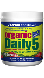 Organic Daily 5 by Jarrow Formulas is a delicious, convenient way to increase your daily servings of fruits and vegetables to reach the recommended five per day.</p> <p>Flavonoids and other polyphenols (in berries) reduce oxidative stress and support healthy cell development, cardiovascular function and vision..