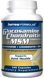 Jarrow Formulas provides efficacious quantities of Glucosamine Sulfate, Chondroitin Sulfate, and MSM combined with Vitamin C and Manganese for optimizing joint health..