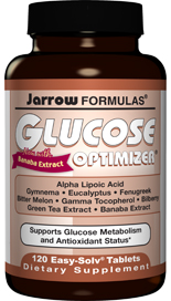 Glucose Optimizer is a comprehensive combination of nutrients that improve glucose metabolism and antioxidant protection. Banaba, Gymnema, Bitter Melon, Fenugreek and Eucalyptus are herbal extracts that have glucose regulating properties. Plus Bilberry, Green Tea Extract and Magnesium..