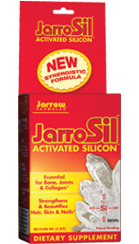 JarroSil is a synergistic formulation of highly bioavailable silicon. It is an essential partner of calcium for bones, glucosamine for joints, and antioxidants for supple and healthy arteries. JarroSil also supports smooth skin, strong nails and healthy hair..