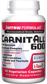CarnitALL is a full spectrum carnitine combination comprised of L-Carnitine Fumarate, GPLC (Glycine Propionyl-L-Carnitine), ALCA (Acetyl-L-Carnitine Arginate), and Acetyl-L-Carnitine Taurinate, to impact various body tissues with the benefits of carnitine..