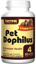 Pet Dophilus is a probiotic formulation designed to help your pet maintain a balanced intestinal microbial ecosystem in order to promote intestinal health and immune function..
