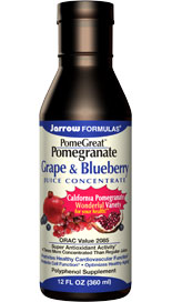 Pomegranate has long been recognized as a fruit with many benefits to health due to its high antioxidant activity from polyphenols including ellagic acid, gallic acid, anthocyanins and tannins (especially, punicalagin).*? Grape is also a rich source of polyphenols. Blueberry is another antioxidant-rich, i.e. anti-aging fruit.*.