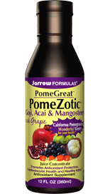 Jarrow FORMULAS PomeGreat PomeZotic offers a blend of superfruits that is exceptionally high in phytonutrients and antioxidants. The combination of pomegranate, grape, and the exotic fruits of goji and acai berries, along with mangosteen, packs a potent antioxidant punch, delivering 2000 ORAC (Oxygen Radical Absorbance Capacity) units per serving. .