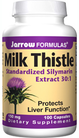 Jarrow Formulas Milk Thistle supports liver function by raising protective glutathione levels..