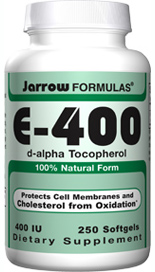 Jarrow Formulas E-400 contains the 100% natural form of Vitamin E, d-alpha Tocopherol.