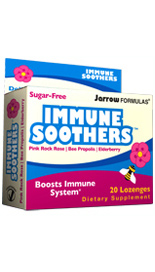 Jarrow FORMULAS IMMUNE SOOTHERS combines vitamin C with other immune boosting botanicals, in a great-tasting, sugar-free lozenge..