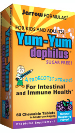 The friendly bacteria in Yum-Yum Dophilus favorably balance the microorganisms in the intestines, support immune function and promote health..