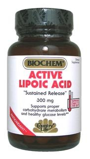 Active Lipoic Acid is a combination of R-Lipoic and alpha-Lipoic acids. R-Lipoic acid is an active isomer of lipoic acid added for increased activity. This formula is 'Sustained Release' to control delivery for several hours. d-Biotin is added to maintain the activity of the lipoic acid..