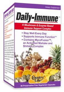 Daily-Immune, a unique and powerful immune supporting formula to be taken every day to enhance immune function. Daily-Immune embraces the traditional use of of medicinal mushrooms by using a unique combination of Maitake and Shiitake mushrooms called MycoFusion which contains MaitakeGold 404, a mushroom root extract that has been patented for its immune supporting qualities.