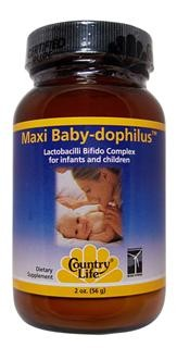 Maxi Baby-Dophilus is specifically formulated for Country Life. It contains scientifically selected strains of 'friendly' bacteria which are appropriate for the special needs of infants and young children. Maxi Baby-dophilus mixes easily with infant formula, juice, water or foods..