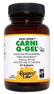 Country Life's Carni Q-Gel is hydrosoluble and employs the patented BioSolv delivery system U.S. Patent No. 6,056,971 under an exclusive agreement with Biosytes, USA Inc. This delivery system enhances absorption 300% over that found with CoQ10 tablets, hard shell capsules or other softgels tested. Supports the conversion of fat into energy. Supports normal cardiovascular function..