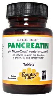 An enzyme to aid in the digestion of protein, fat, and carbohydrate.</p><p>Country Life's Super Strength Pancreatin is derived from pure porcine pancreas. Each tablet is pH Micro-Coated (enteric coated) which allows the release of the nutrients in the alkaline medium of the intestines.