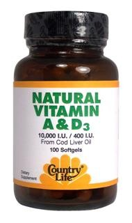 Country Life's Natural Vitamin A & D3 is derived from cod liver oil, which is considered to be the best natural source of Vitamins A and D3..